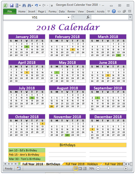 2018 Calendar Birthdays Full Year Excel Spreadsheet Printable