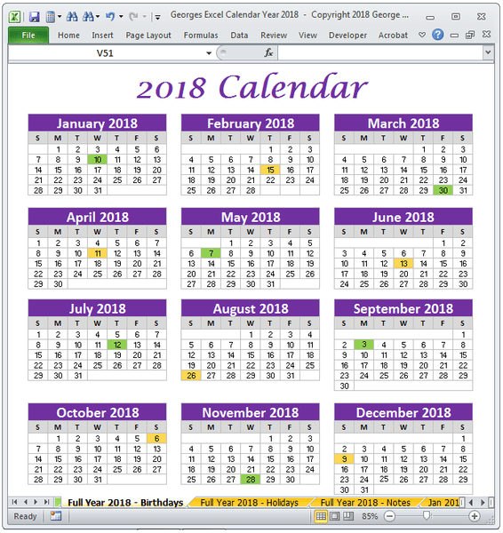 2018 Calendar Full Year One Page Excel Spreadsheet Printable