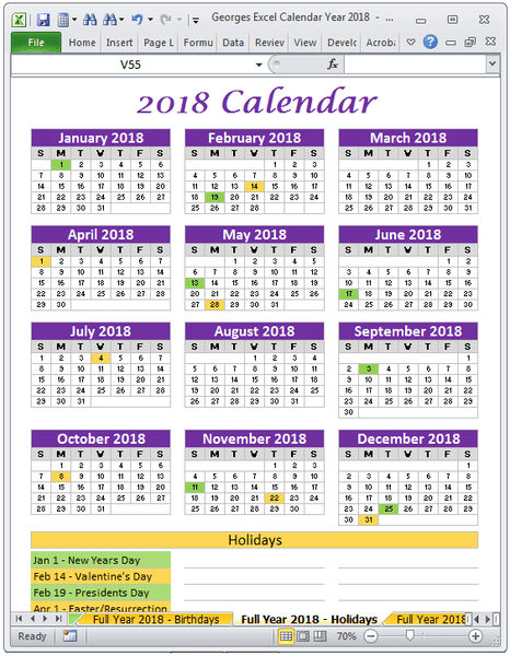 2018 Calendar With Holidays Full Year Excel Spreadsheet Printable