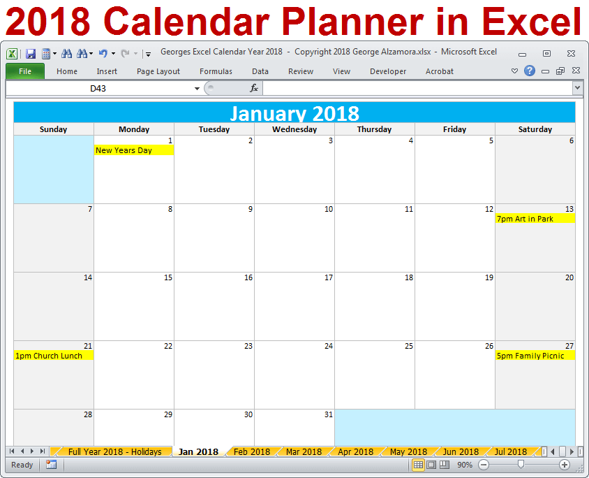 Year Calendar Calculator : Calendar year in excel spreadsheet printable