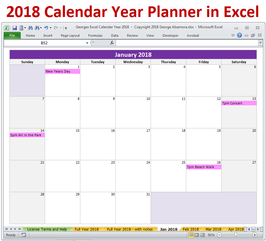 2018 monthly calendar excel spreadsheet