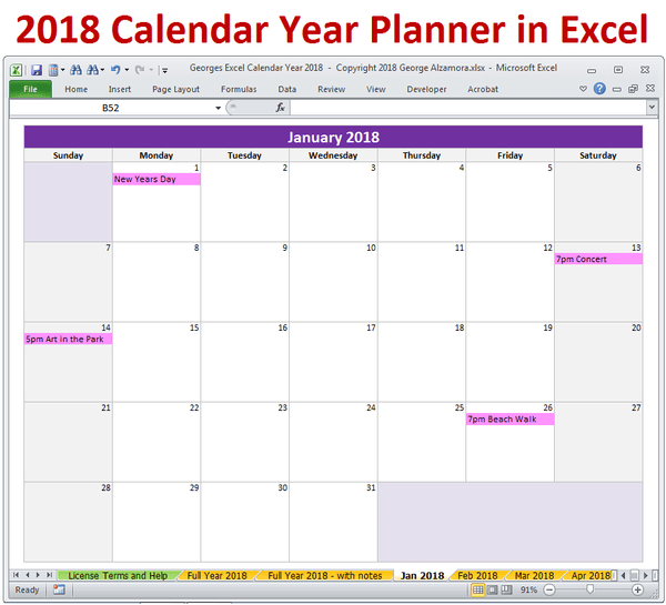Monthly Calendar Excel Xls Files : Calendar year in excel spreadsheet printable