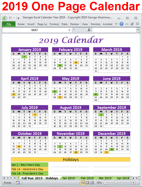 2019 calendar year excel spreadsheet 2019 calendar one page printable excel
