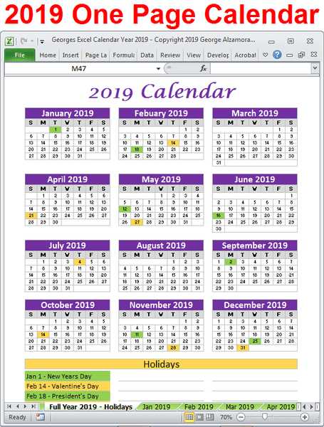 2019 calendar one page printable excel