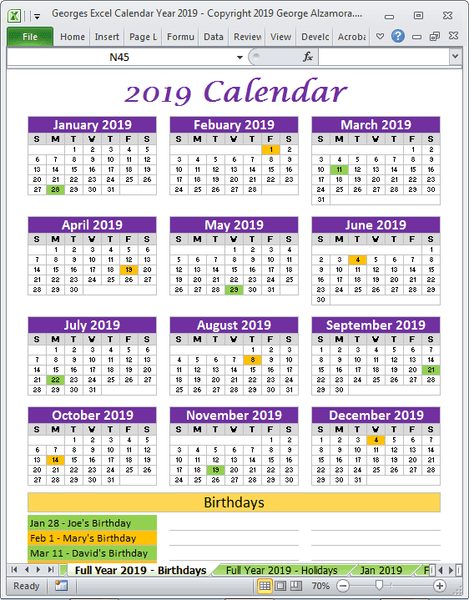 2019 calendar track birthdays Excel templates