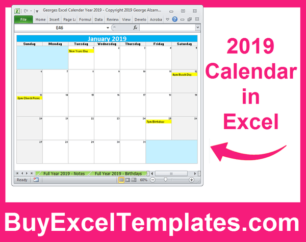 printable 2019 calendar excel spreadsheet editable