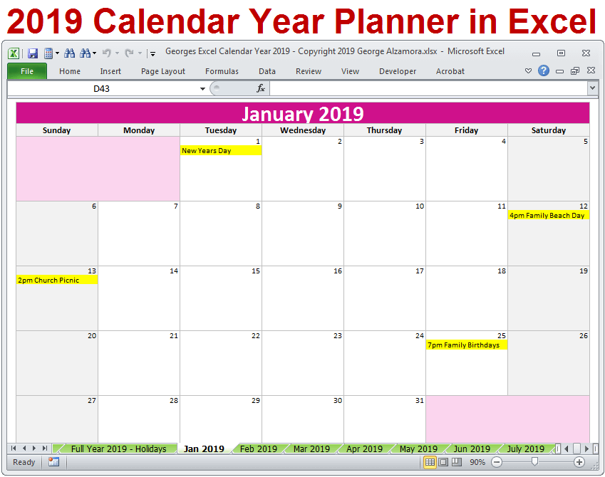 2019 Calendar Printable Yearly Monthly Editable Excel Digital