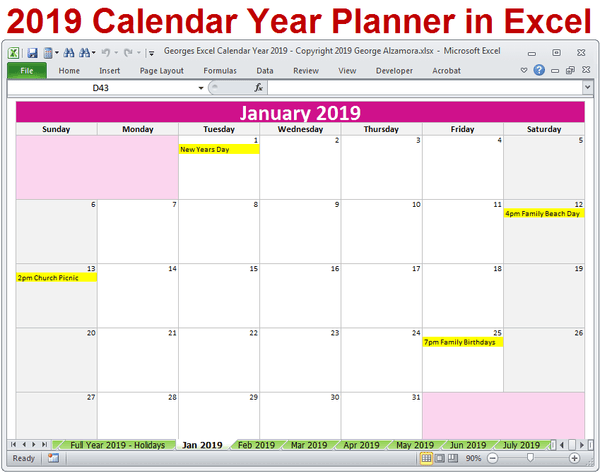 2019 Calendar Printable Yearly Monthly Editable Excel ...