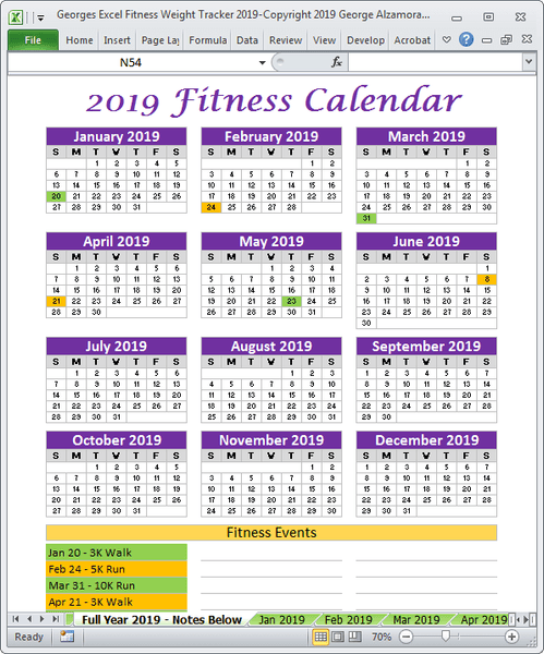 2019 fitness events full year calendar Excel templates