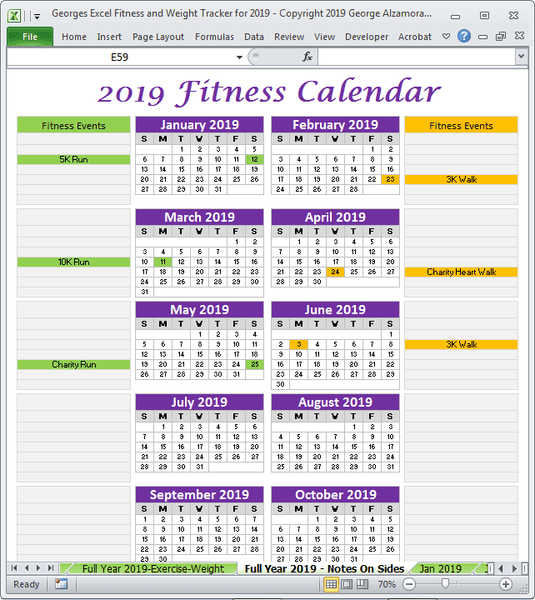 2019 fitness planner one page full year