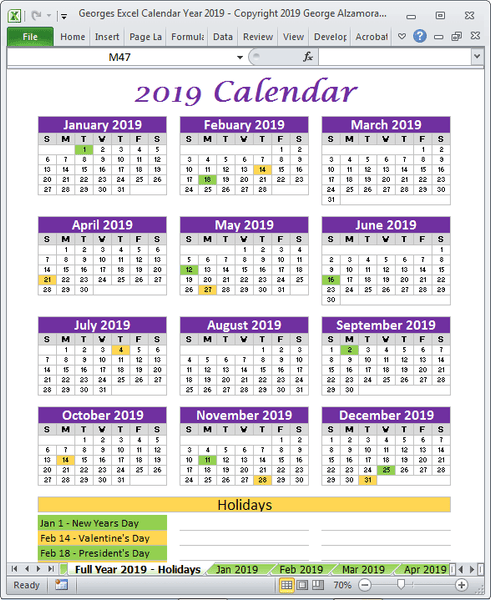 2019 holidays calendar single page printable excel template