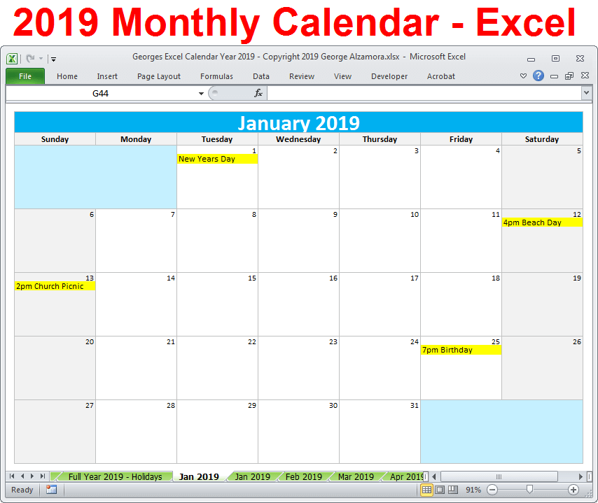 2019 Monthly Calendar Excel 2019 Calendar Printable Yearly Monthly Editable Excel Digital