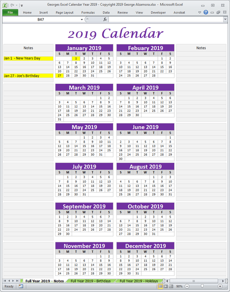 2019 single one page calendar planner excel
