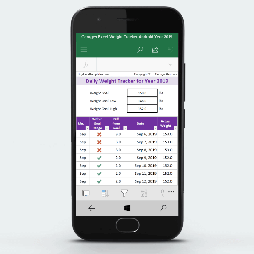 2019 weight tracker app android phone Excel
