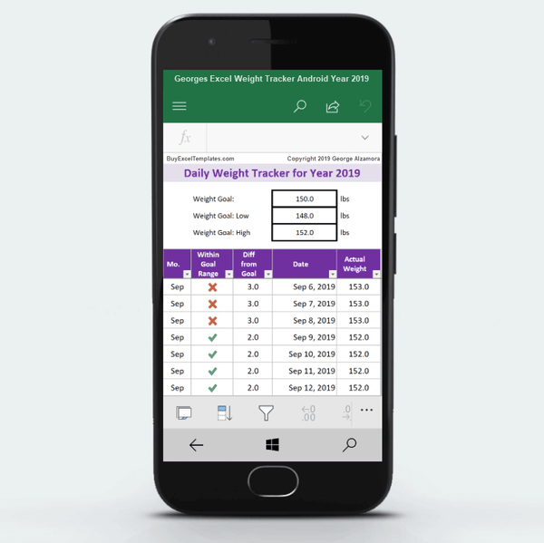 excel weight tracker app for android for year 2019
