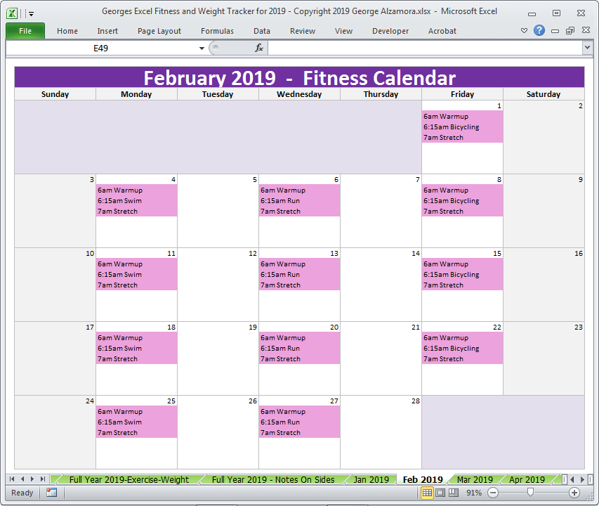 February 2019 Calendar For Workouts Excel Fitness   Weight Tracker for Year 2019   Spreadsheet