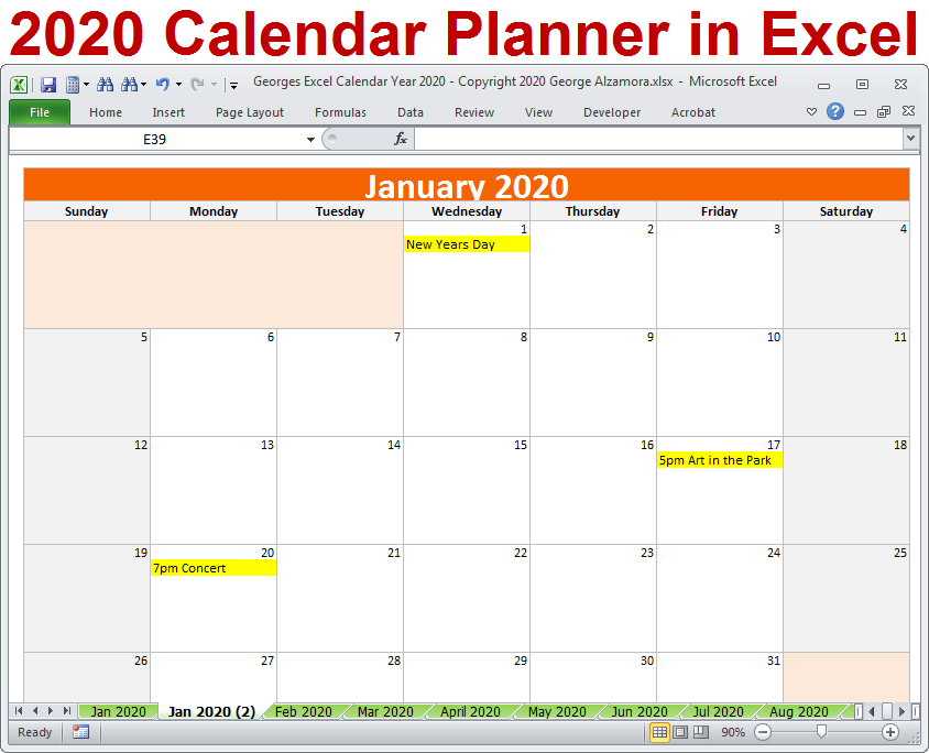 2020 Calendar Year In Excel Spreadsheet Printable Digital