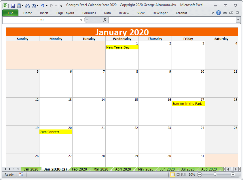 2020 calendar year in excel spreadsheet