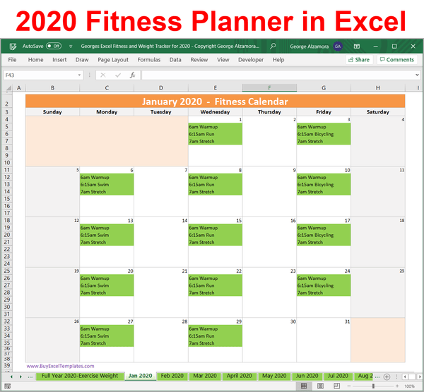 2020 Fitness Planner Spreadsheet: Weekly Monthly Schedule
