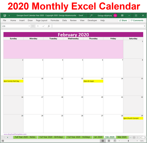 2020 monthly calendar Excel spreadsheet