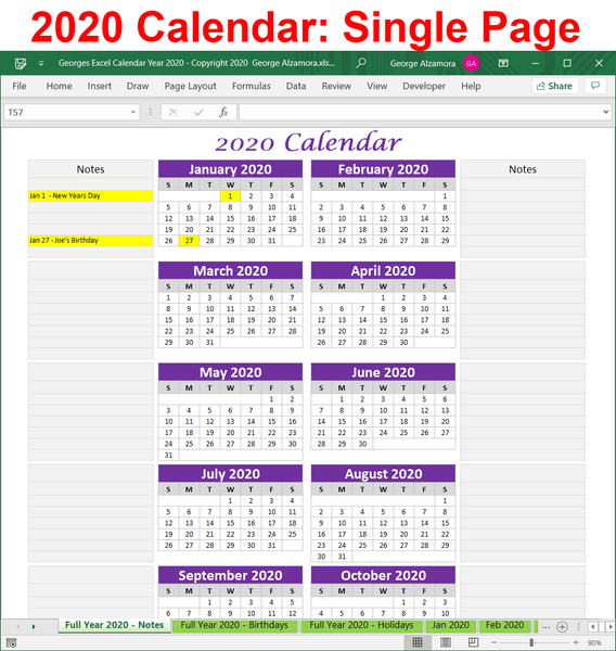 2020 year-at-a-glance Excel spreadsheet