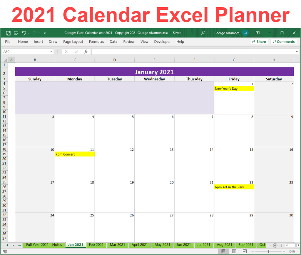 2021 Excel Calendar Planner Template Monthly Yearly ...