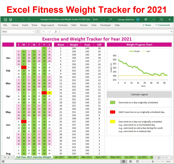 2021 Workout and Weight Loss Tracker: Excel Templates