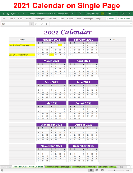 2021 single page calendar spreadsheet