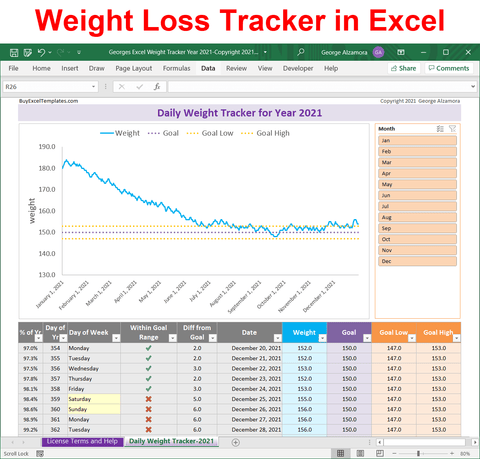 2021 weight tracker excel template