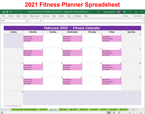 Excel Fitness Tracker - Weight Tracker for Year 2021