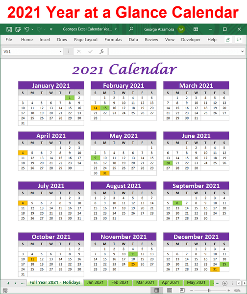 2021 year-at-a-glance calendar excel