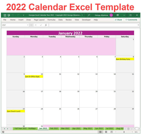 2022 Excel Calendar Planner | Yearly Monthly Printable Spreadsheet Templates
