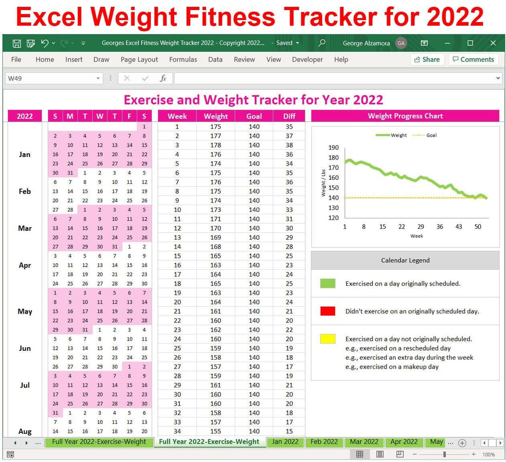 2022 weight loss tracker exercise planner Excel template