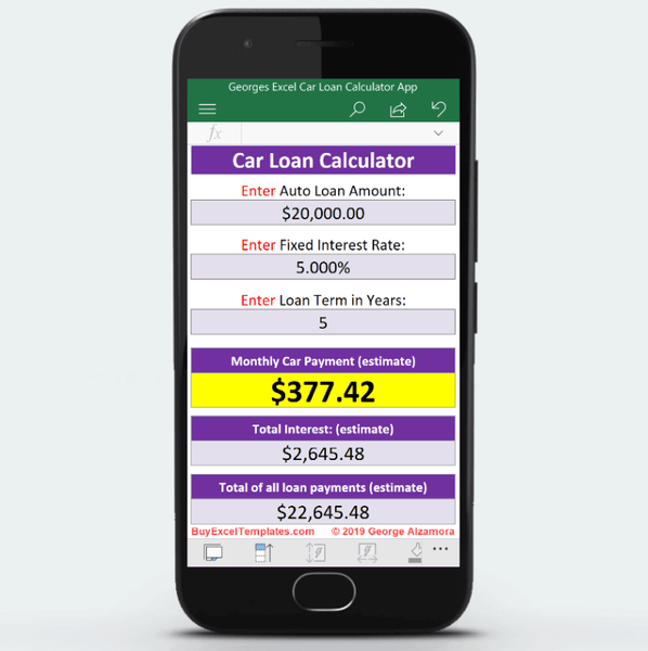 Android App Auto Loan Payment Calculator Excel