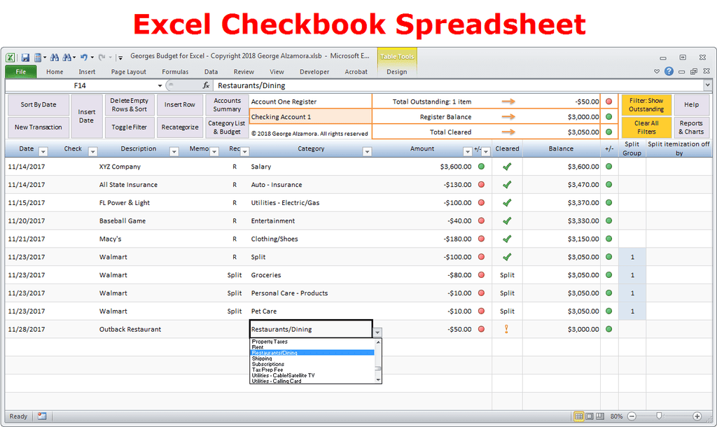 bank account tracking spreadsheet