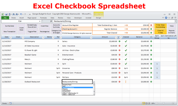Excel Budget Spreadsheet and Checkbook Register Software ...