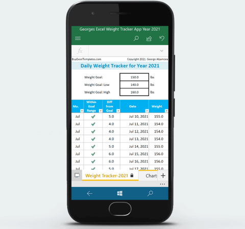 Excel Weight Tracker App for Android for Year 2021