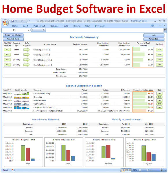 Budget software and checkbook register Excel spreadsheet