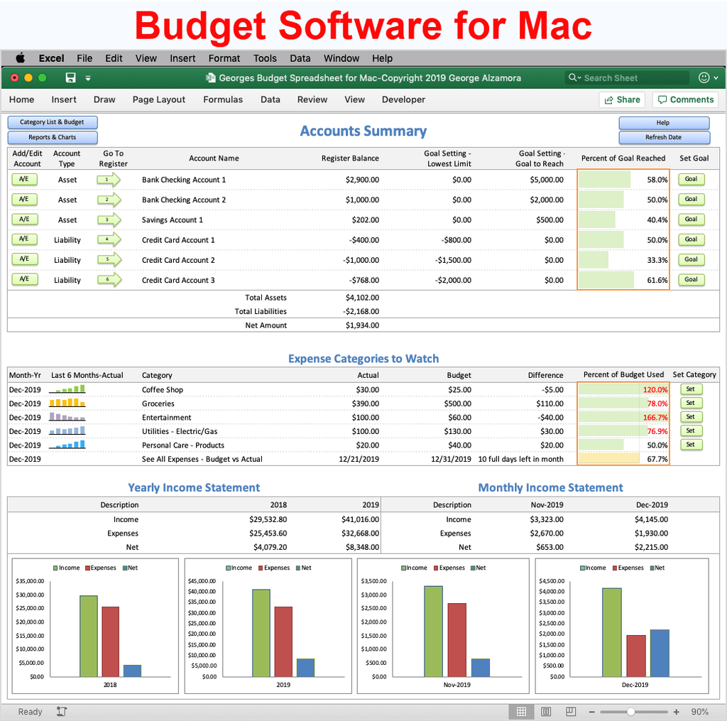 Budget Software for Mac computers in Excel