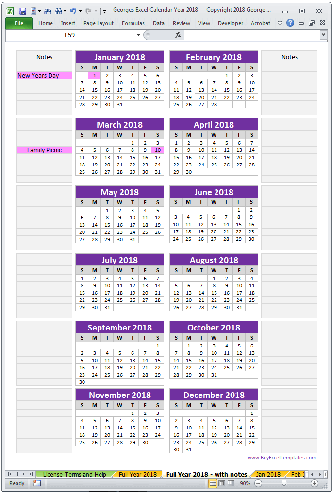 Year Calendar Single Page : Calendar year in excel spreadsheet printable