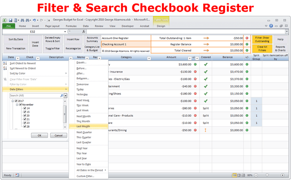 Checkbook Software Filter Search Transactions
