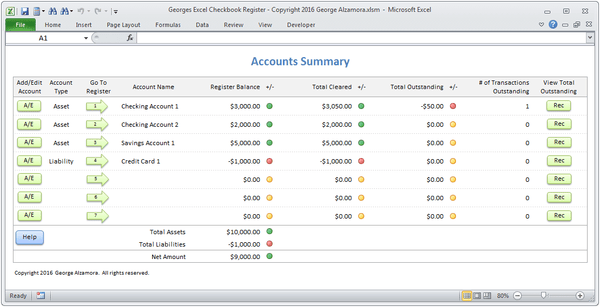 Microsoft Excel checkbook spreadsheet software for bank accounts, savings accounts and credit card accounts
