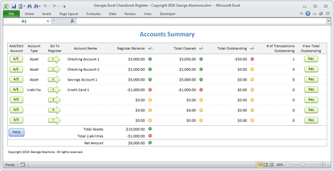 Georges Excel Checkbook Register v4.0
