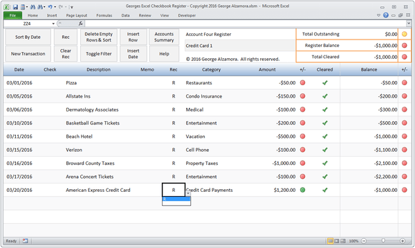 Checkbook software with bank account reconciliation