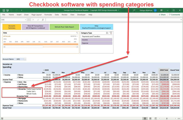 Excel checkbook with spending categories