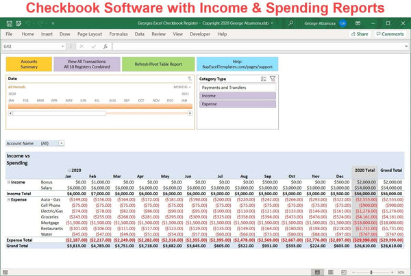 checkbook software with spending reports