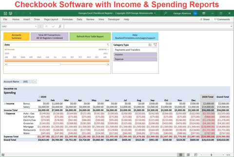 Georges Excel Checkbook Register v7.0