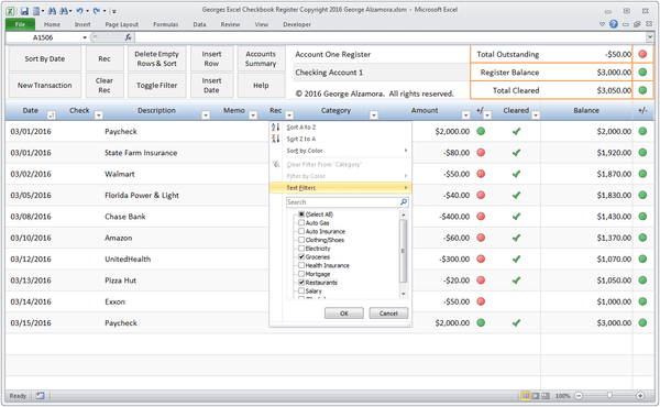 Microsoft Excel checkbook register with categories