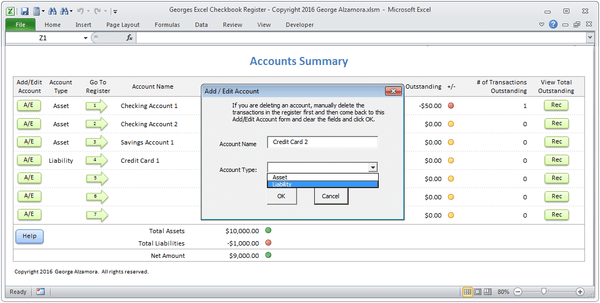 Checkbook spreadsheet add accounts