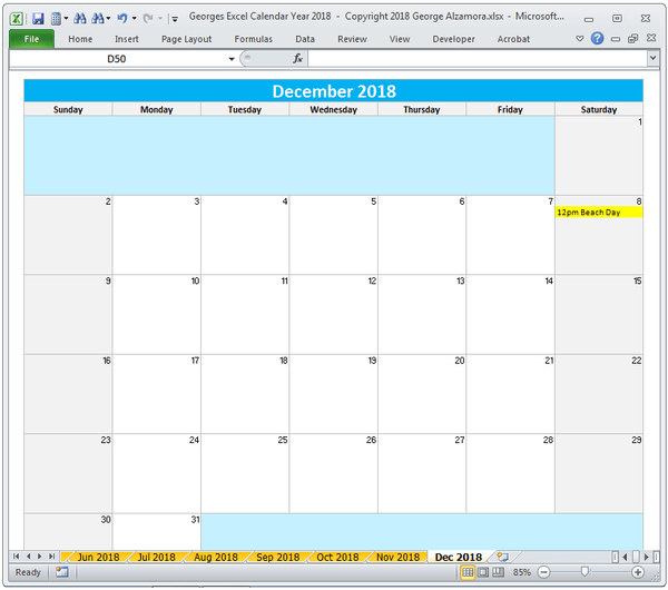 calendar template windows